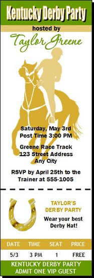 Kentucky Derby Party Ticket Invitation