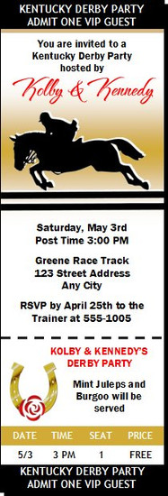 Kentucky Derby Equestrian Party Ticket Invitation