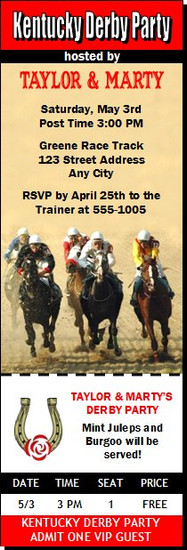 Kentucky Derby The Race Is On Party Ticket Invitation