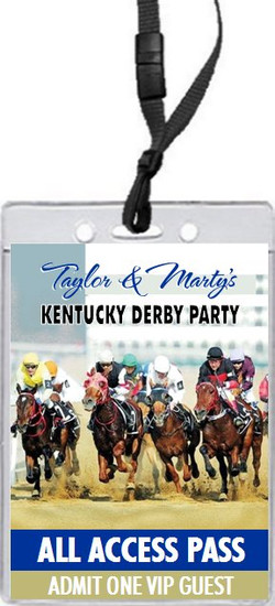 Kentucky Derby They're Off Party VIP Pass Invitation Front