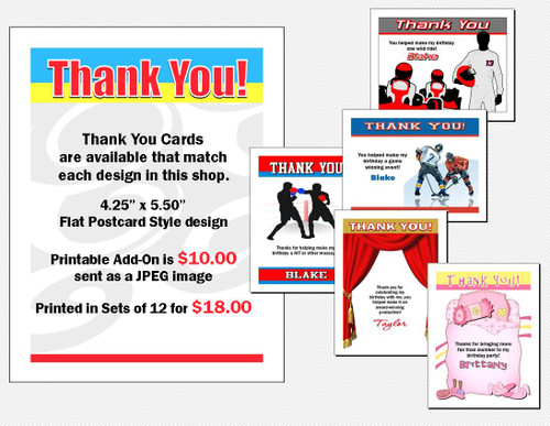 Thank You Card to Match Any Print Villa Party Invitation