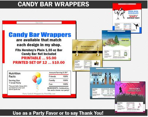 Candy Bar Wrapper to Match Any Print Villa Invitation Design