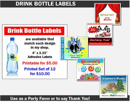 Drink Bottle Label to Match Any Print Villa Invitation Design