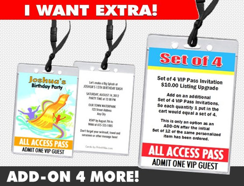 VIP Pass Invitations Add-On, Set of 4