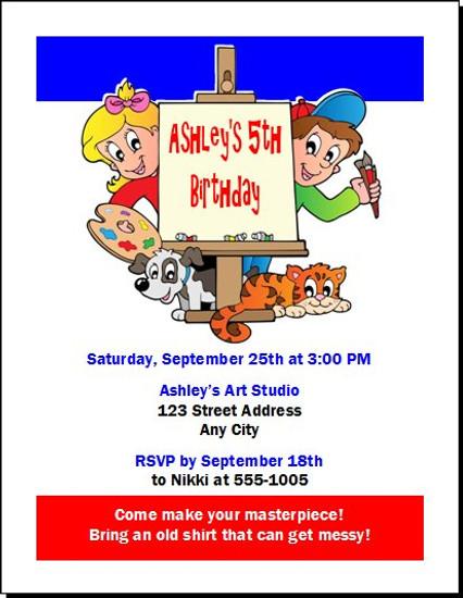 Art Birthday Party Invitation