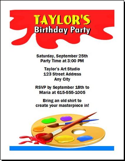 Artist Birthday Party Invitation