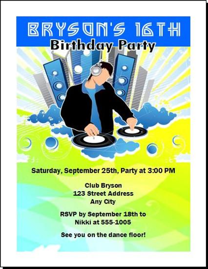 At Da Club Birthday Party Invitation