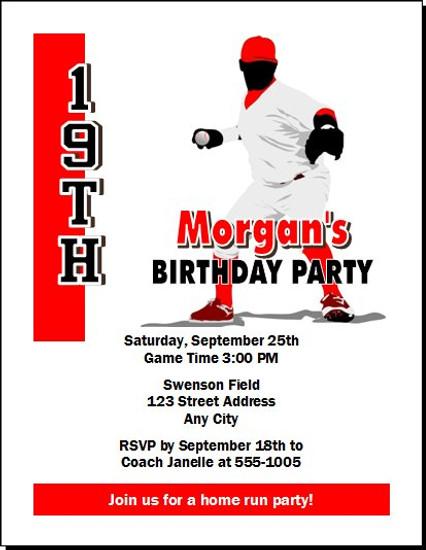 Baseball Birthday Party Invitation Set Of 12