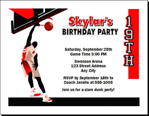 basketball game purple gold birthday party invitation