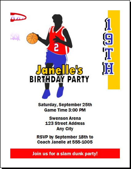 Basketball Girl Birthday Party Invitation
