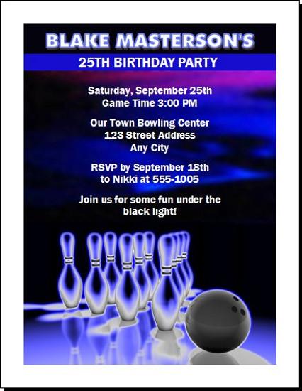 Bowling Cosmic Birthday Party Invitation
