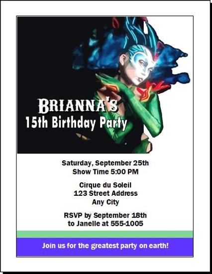 Cirque du Soleil Birthday Party Invitation