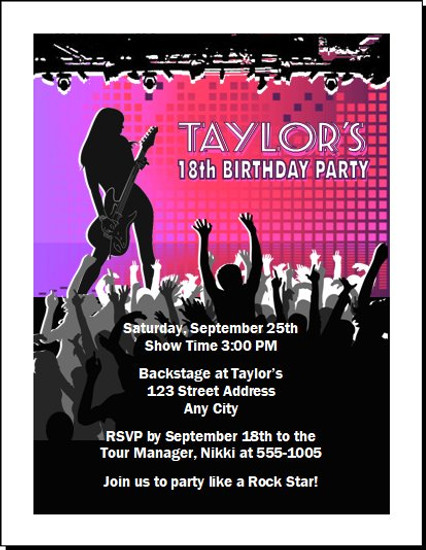 Concert Guitarist Female Birthday Party Invitation