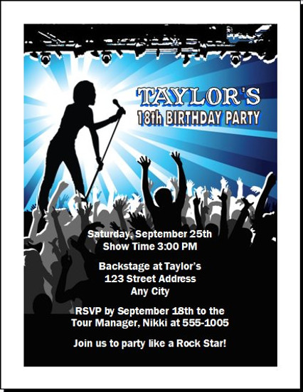 Concert Singer Male Birthday Party Invitation