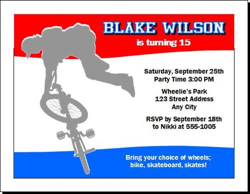 Cyclist Birthday Party Invitation