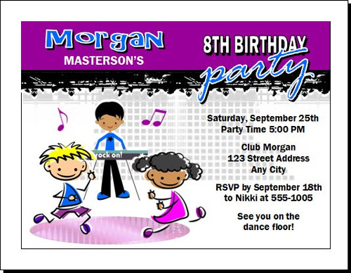 Dance Club Kids Purple Birthday Party Invitation