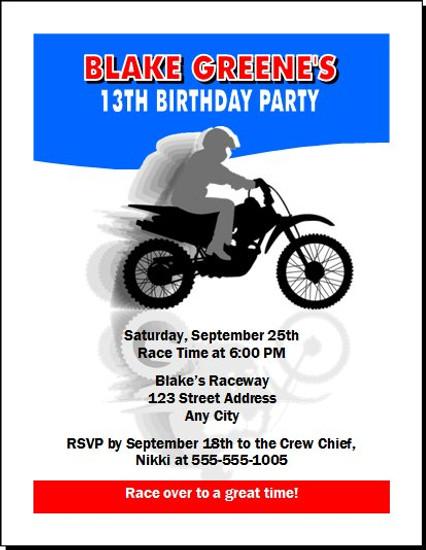 Dirtbike Birthday Party Invitation