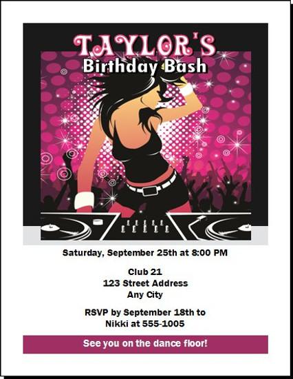 DJ Rocker Chick Birthday Party Invitation