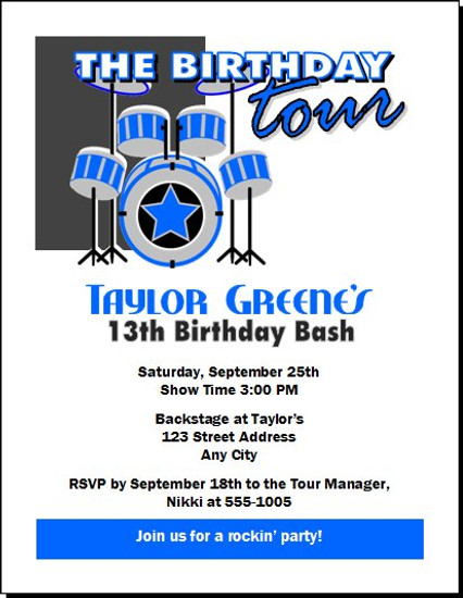 Drummer Birthday Party Invitation