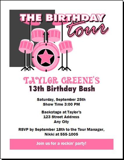Drummer Girl Birthday Party Invitation