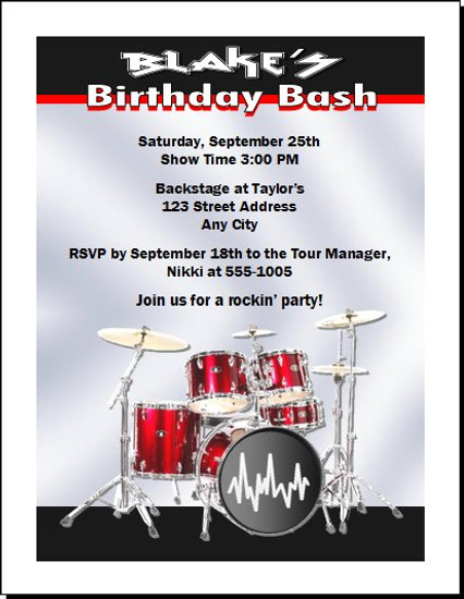 Drummer Red Birthday Party Invitation