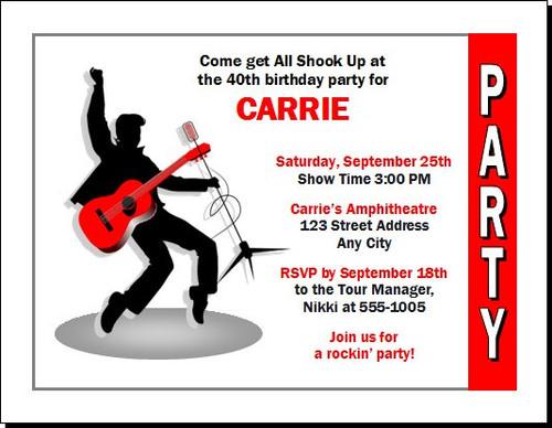 Elvis Inspired Design 2 Birthday Party Invitation