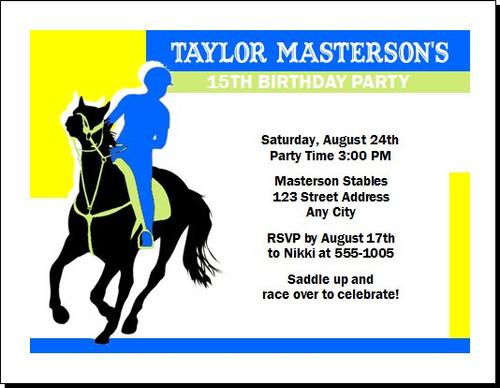 Equestrian Rider Birthday Party Invitation