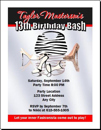 Fashionista Birthday Party Invitation