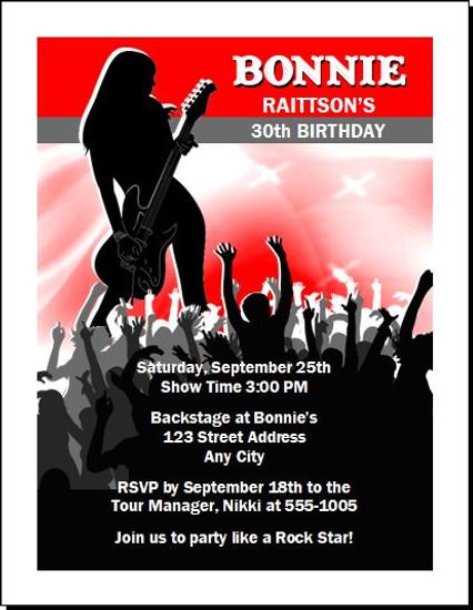 Female Guitarist Birthday Party Invitation
