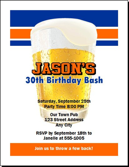 Free Beer Birthday Party Invitation Set Of 12