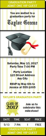 Cap & Diploma Graduation Party Ticket Invitation