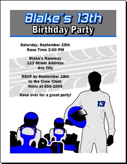 Go Kart Driver Birthday Party Invitation Blue