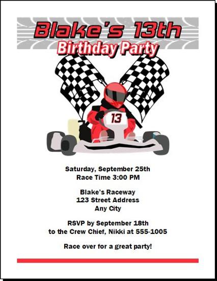 Go Kart Racer Birthday Party Invitation