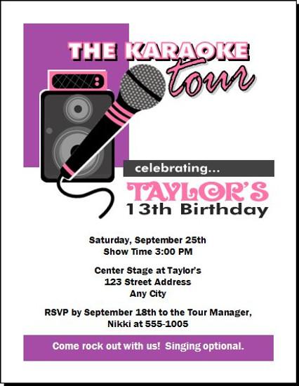 Karaoke Star Birthday Party Invitation Purple