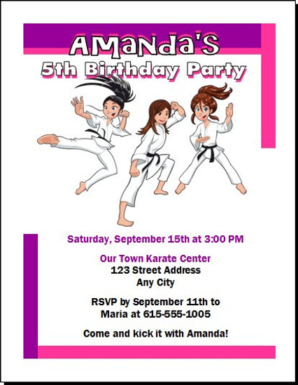 Karate Girl Birthday Party Invitation
