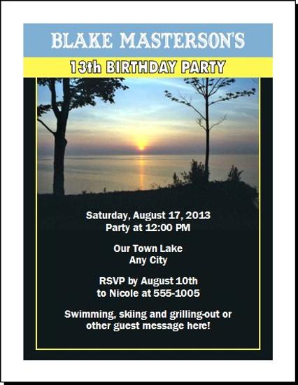 Lake Birthday Party Invitation