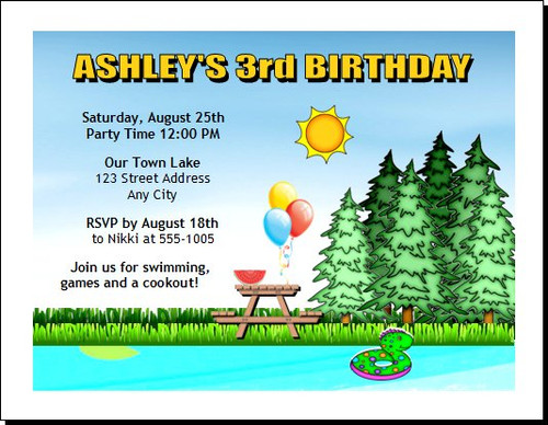Lake Cookout Birthday Party Invitation