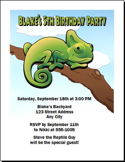 Lizard Iguana Birthday Party Invitation