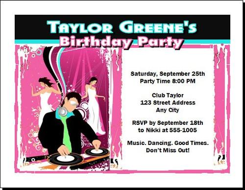 Nightclub DJ Birthday Party Invitation