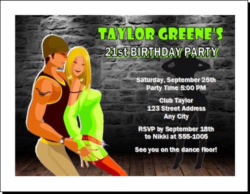 Nightclub Lime Birthday Party Invitation