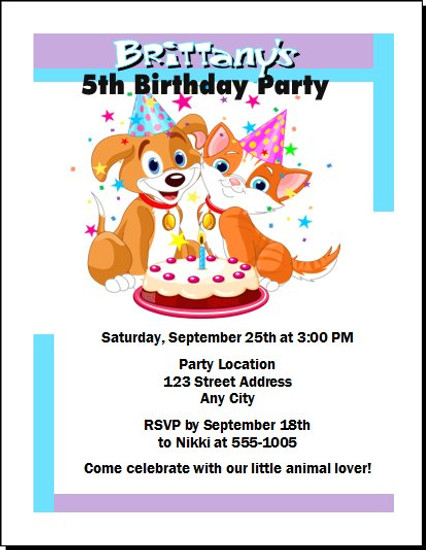 Puppy Kitten Birthday Party Invitation