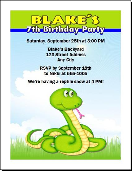 Rattlesnake Reptile Birthday Party Invitation