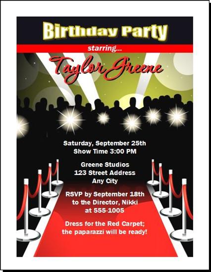 Red Carpet Paparazzi Birthday Party Invitation