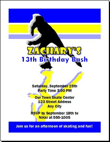 Roller Skater Male Birthday Party Invitation