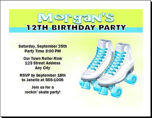 Roller Skates Birthday Party Invitation Teal