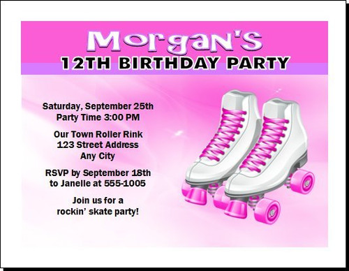 Roller Skates Birthday Party Invitation Teal Or Pink Set Of 12