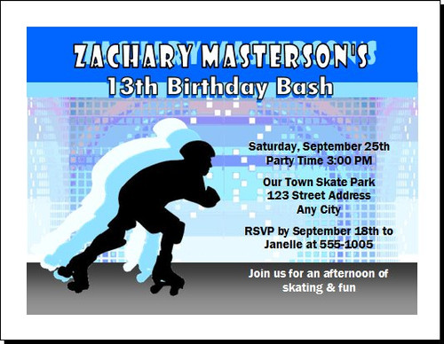 Roller Skating Male Birthday Party Invitation