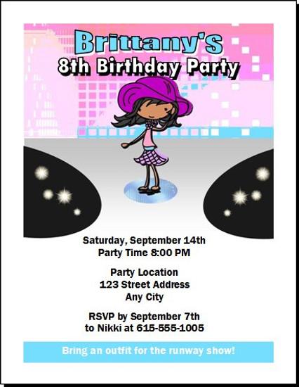 Runway Fashionista Birthday Party Invitation Dark Skin