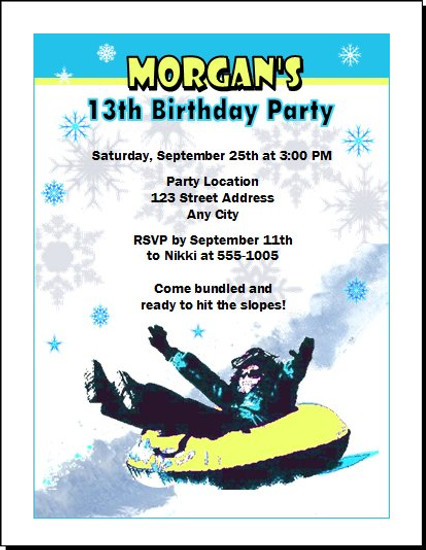Snow Tubing Birthday Party Invitation