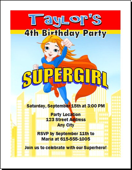 Supergirl Birthday Party Invitation Set Of 12